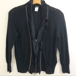 J. Crew wool ruffle zipper cardigan